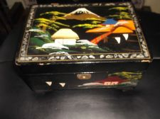 VINTAGE ORIENTAL BLACK LACQUER MOP INLAID MUSICAL JEWELLERY BOX TLC ISIKAWA